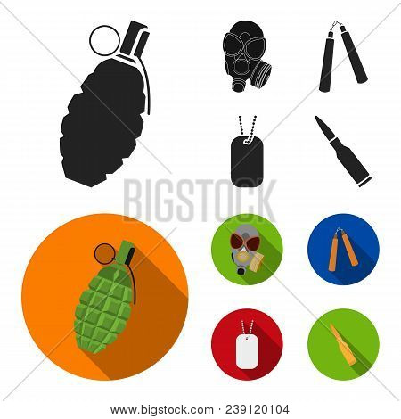 Gas Mask, Nunchak, Ammunition, Soldier Token. Weapons Set Collection Icons In Black, Flat Style Vect
