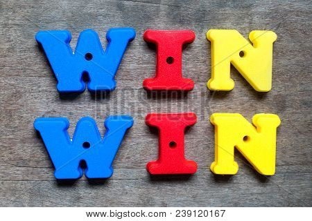 Color Alphabet In Word Win Win On Wood Background