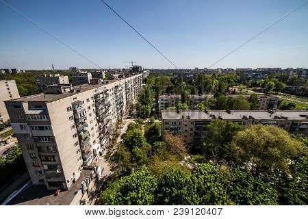 Generic Cityscape View In Residential Area From High Point