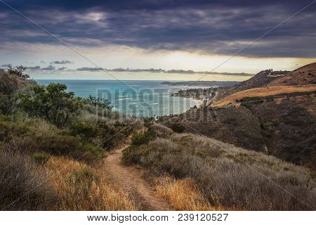 Dramatic Clouds And Coastline View Of The Pacific Ocean From The Corral Canyon Trail In Malibu, Cali