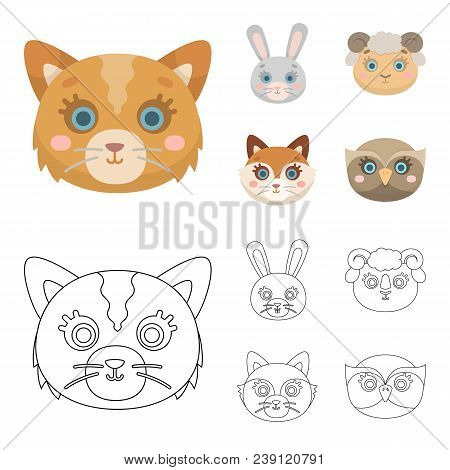 Cat, Rabbit, Fox, Sheep. Animal Muzzle Set Collection Icons In Cartoon, Outline Style Vector Symbol