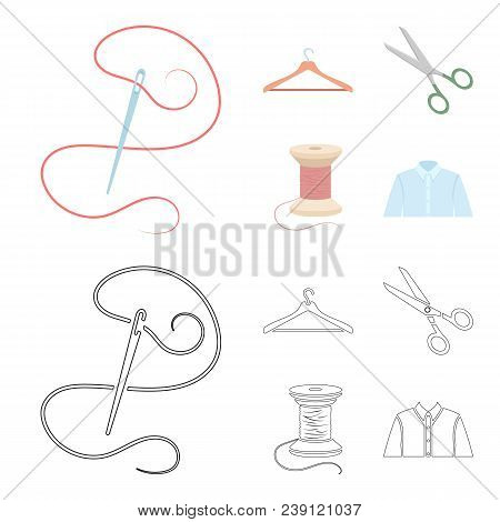 Thread, Reel, Hanger, Needle, Scissors.atelier Set Collection Icons In Cartoon, Outline Style Vector