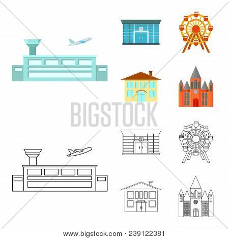 Airport, Bank, Residential Building, Ferris Wheel.building Set Collection Icons In Cartoon, Outline