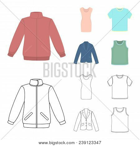 A Mans Jacket, A Tunic, A T-shirt, A Business Suit. Clothes Set Collection Icons In Cartoon, Outline