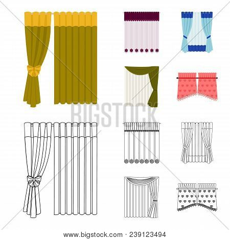 Curtains, Drapes, Garters, And Other  Icon In Cartoon, Outline Style. Textiles, Furniture, Bow Icons