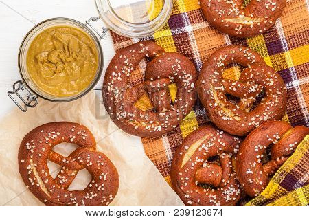 Delicious Homemade Salted Pretzels With Mustard Close-up