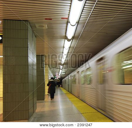 Subway Train Leaving Station