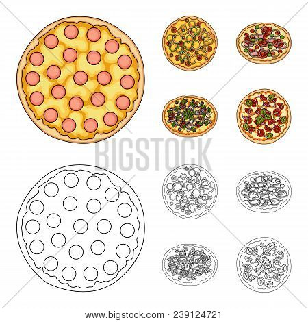 Pizza With Meat, Cheese And Other Filling. Different Pizza Set Collection Icons In Cartoon, Outline