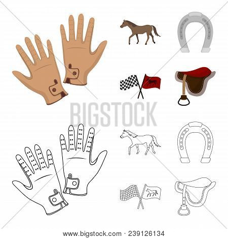 Race, Track, Horse, Animal .hippodrome And Horse Set Collection Icons In Cartoon, Outline Style Vect