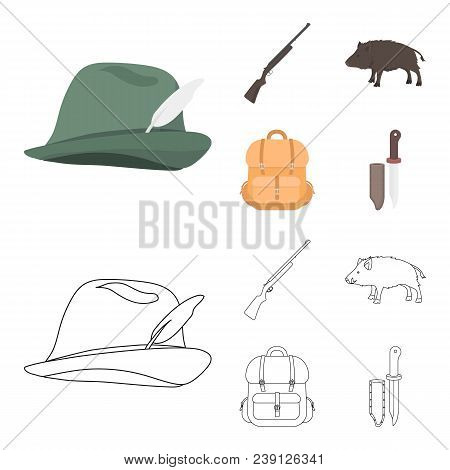 A Hunting Hat With A Feather, A Wild Boar, A Rifle, A Backpack With Things..hunting Set Collection I