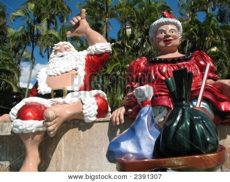 Hawaiian Shaka Santa And Ms. Clause
