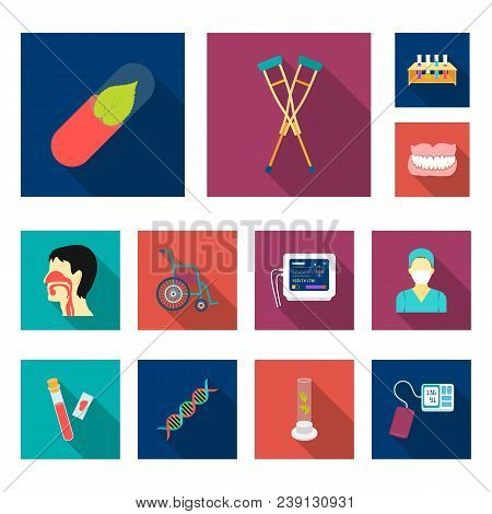 Medicine And Treatment Flat Icons In Set Collection For Design. Medicine And Equipment Vector Symbol