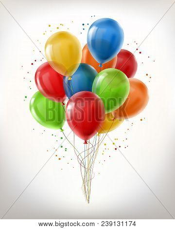 Vector Realistic Bunch Of Flying Glossy Balloons, Multicolored, Filled With Helium Isolated On White