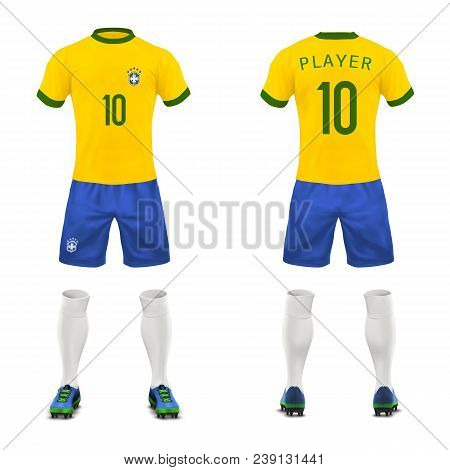 Vector 3d Realistic Uniform Of Brasil Football Player. Yellow T-shirt, Blue Shorts For Playing Socce