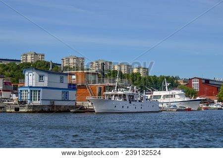 Stockholm, Sweden - July 2014: Floating Homes And Boats Docked At Pampas Marina, The Largest Private