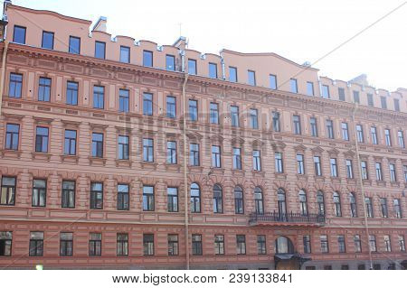 Architecture Building Classic Decor Facade Of Old Historic House With Soft Light Red Color Walls. Ex