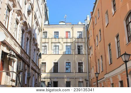 Well Yard In Saint Petersburg Russia. Famous City Courtyards Built In Shape Of A Well, With Small Sp
