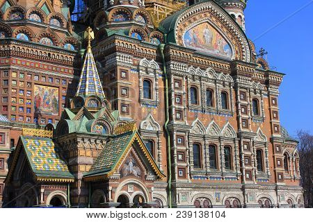 Facade Architecture Details Of Church Of Our Savior On Spilled Blood In St. Petersburg, Russia. Reli