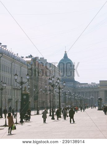 St. Petersburg, Russia - April 9, 2018: Historical Street With Retro Lanterns And Old Classical Buil