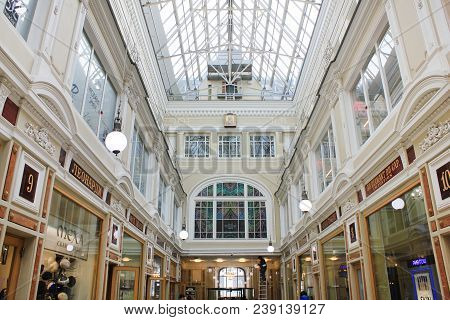 St. Petersburg, Russia - April 7, 2018: Passage Gallery Modern Shopping Mall Interior. Luxury City C