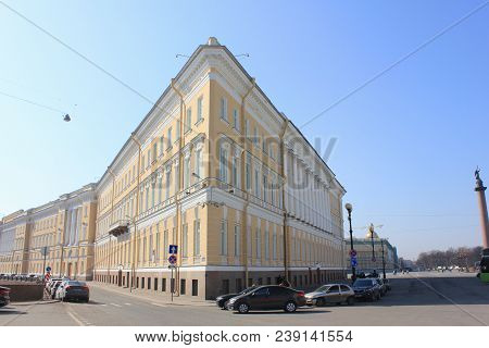 Building Exterior With Triangle Architectural Design Of Classic Historical House Near Palace Square