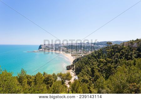Pescichi, Apulia, Italy - View Onto Pescichi From A Viewpoint On The Cliffs