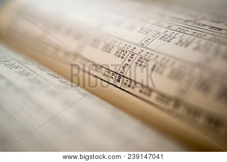 logarithmic calculation table book, macro photo