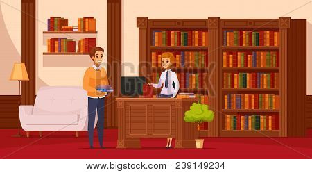 Library Flat Orthogonal Composition With Librarian Assisting Reader At Service Desk In Front Of Book