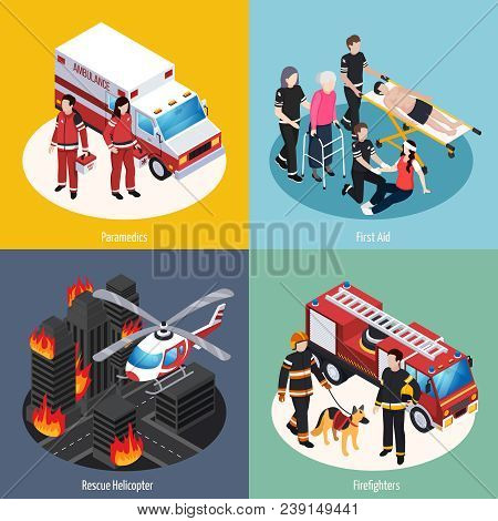 Rescue Team 2x2 Design Concept Set Of Paramedics Firefighters Rescue Helicopter And First Aid Isomet