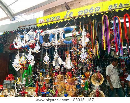 Acre, Israel - September 5, 2017: East Arab Market Of Old City Of Acre (akko), Israel.