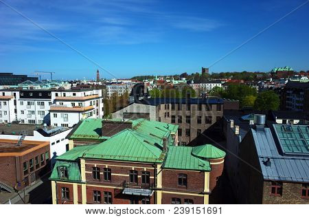 Helsingborg, Sweden - 02 May, 2018: View of central part of city from Comfort Hotel. Helsingborg is a port city located in southern Sweden on the shore of Oresund strait