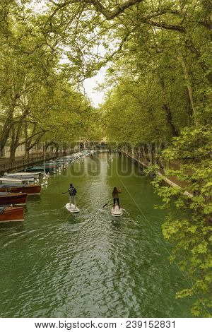 France, Annecy - May 01, 2018: The Bridge Of Love Is A Bridge Located At The Entrance To The Vassé C