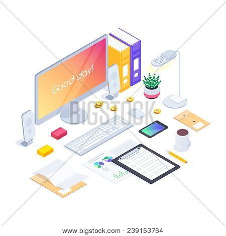 Workspace. Isometric Concept Of The Workplace With A Computer, Smartphone, Folders And Claim Form On