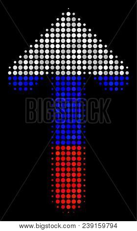 Halftone Arrow Direction Pictogram Colored In Russian Official Flag Colors On A Dark Background. Vec