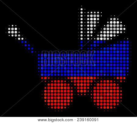 Halftone Baby Carriage Icon Colored In Russia Official Flag Colors On A Dark Background. Vector Conc