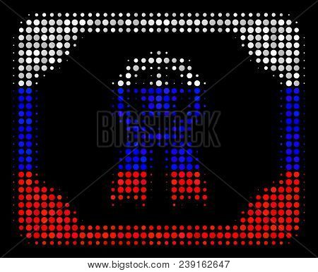 Halftone Diploma Pictogram Colored In Russian Official Flag Colors On A Dark Background. Vector Coll