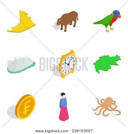 Continental Life Icons Set. Isometric Set Of 9 Continental Life Vector Icons For Web Isolated On Whi