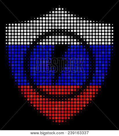 Halftone Electric Guard Icon Colored In Russian State Flag Colors On A Dark Background. Vector Compo