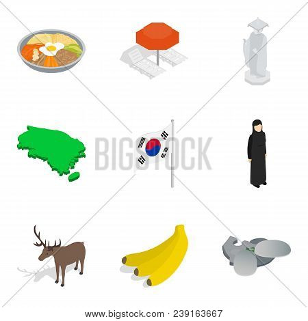 Foreign Icons Set. Isometric Set Of 9 Foreign Vector Icons For Web Isolated On White Background