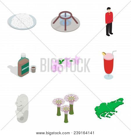 Foreign Place Icons Set. Isometric Set Of 9 Foreign Place Vector Icons For Web Isolated On White Bac