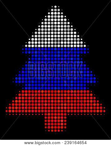 Halftone Fir-tree Pictogram Colored In Russian Official Flag Colors On A Dark Background. Vector Com