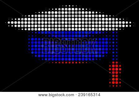 Halftone Graduation Cap Pictogram Colored In Russia State Flag Colors On A Dark Background. Vector M