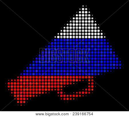 Halftone Megaphone Icon Colored In Russia State Flag Colors On A Dark Background. Vector Pattern Of