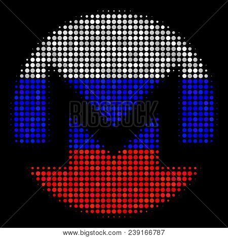 Halftone Monero Currency Icon Colored In Russian State Flag Colors On A Dark Background. Vector Conc