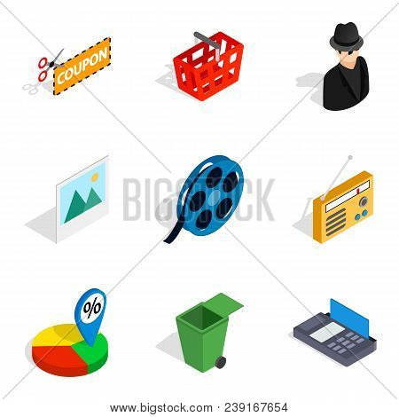 Society Today Icons Set. Isometric Set Of 9 Society Today Vector Icons For Web Isolated On White Bac