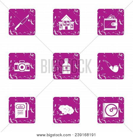 Household chores icons set. Grunge set of 9 household chores vector icons for web isolated on white background poster