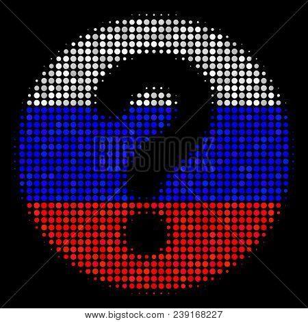 Halftone Query Pictogram Colored In Russian State Flag Colors On A Dark Background. Vector Concept O