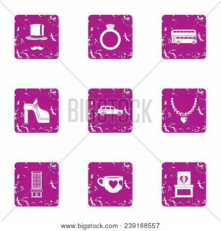 Rich Life Icons Set. Grunge Set Of 9 Rich Life Vector Icons For Web Isolated On White Background