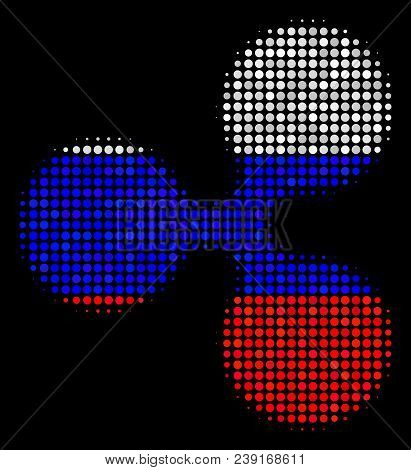 Halftone Ripple Currency Pictogram Colored In Russia Official Flag Colors On A Dark Background. Vect
