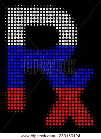 Halftone Rx Symbol Icon Colored In Russia Official Flag Colors On A Dark Background. Vector Collage